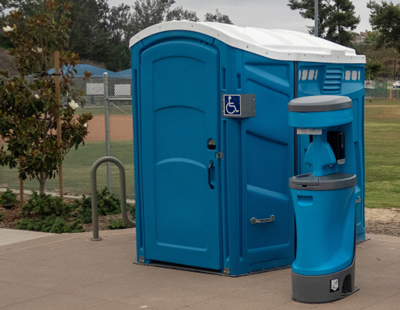 Ada compliant portable toilet out side
