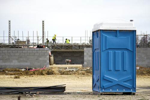 porta potty at a construction site