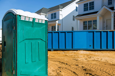 porta potty at a new home construction site