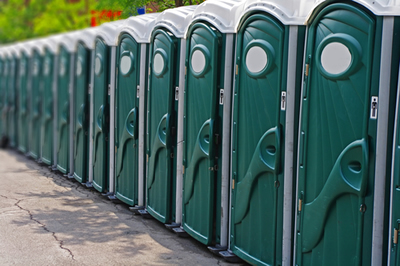 line of portable toilets